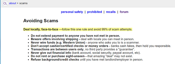 Craiglist advice on common scams