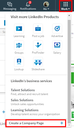 LinkedIn Company Pages menu