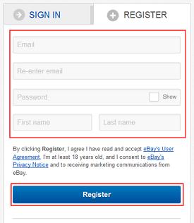 eBay sign up form