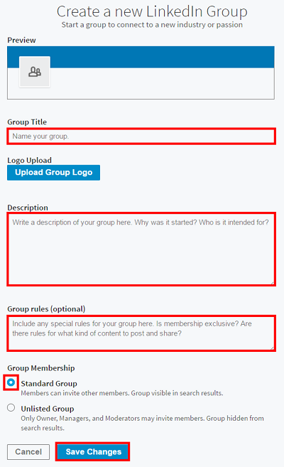 Form to create a LinkedIn group