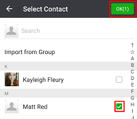 Choose contacts to add to WeChat tag