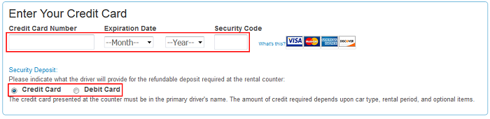 Priceline credit card information form