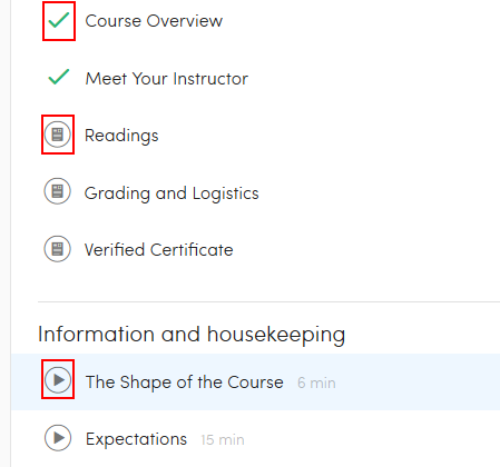 List of Coursera course materials