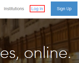 Coursera log in button