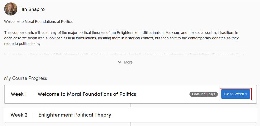 Select a Coursera course week module