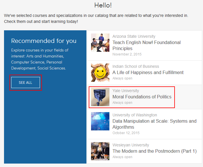 Select a recommended Coursera course