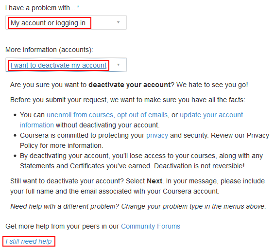 Deleting your Coursera account