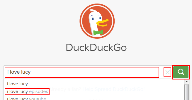 The DuckDuckGo search box