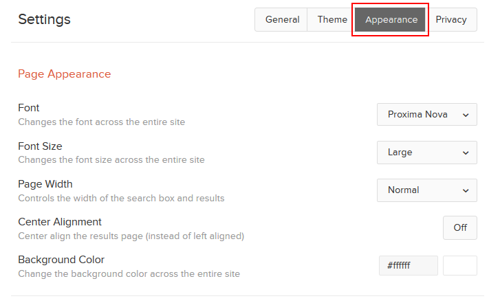 DuckDuckGo appearance settings