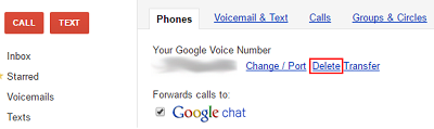 Delete number from Legacy Google Voice