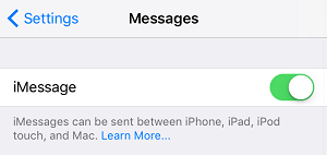 Disable iMessage settings