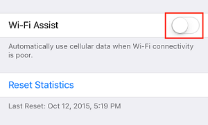 Wi-Fi Assist setting toggle