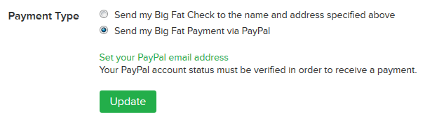 Payment options from Ebates