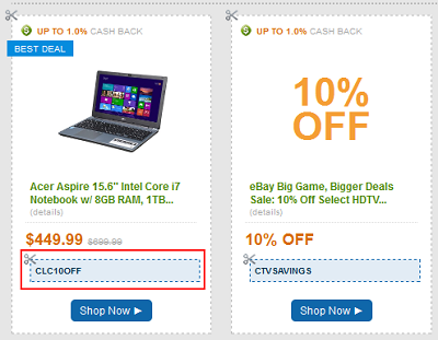 Find eBay coupons on other external websites that you can use on eBay