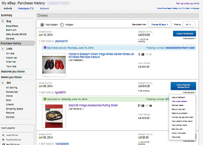 View eBay purchase history