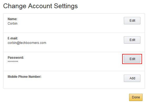 Edit Amazon password form