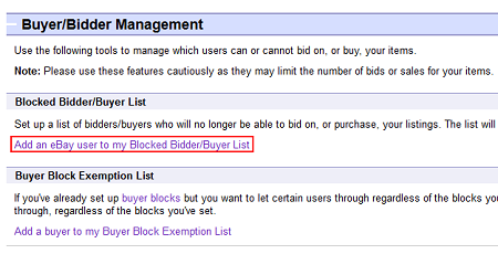 Edit blocked bidder list button
