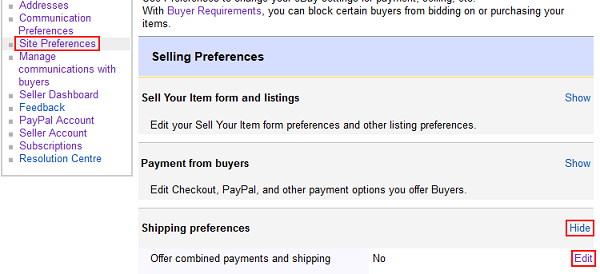 Edit shipping preferences