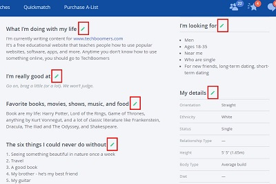 Edit aspects of your OkCupid profile by clicking the green pencil icon