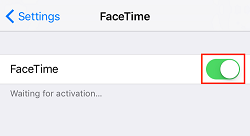Enable FaceTime toggle