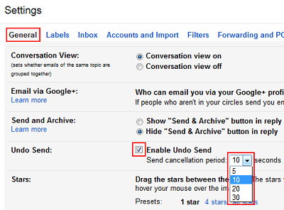 Gmail undo send feature enabled in settings