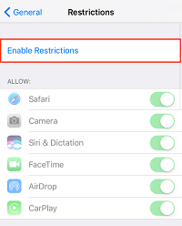 Enable Restrictions button