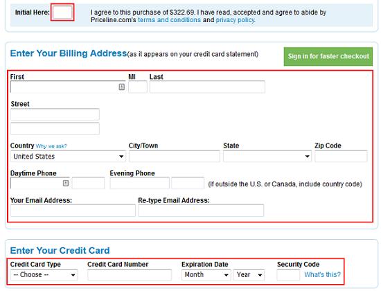 Priceline billing details page