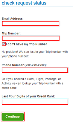 Enter trip information