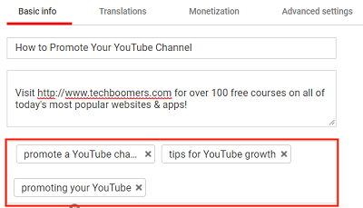 Tag video with keywords