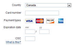 Enter credit card information to confirm your payment