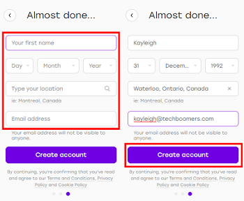 Badoo sign up form