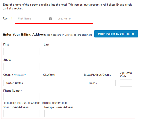 Priceline personal information booking form