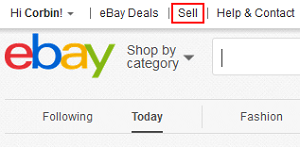 eBay Sell menu