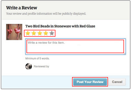 how to leave a review on etsy without an account