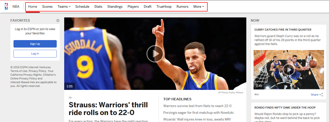 ESPN.com NBA section with sub-options