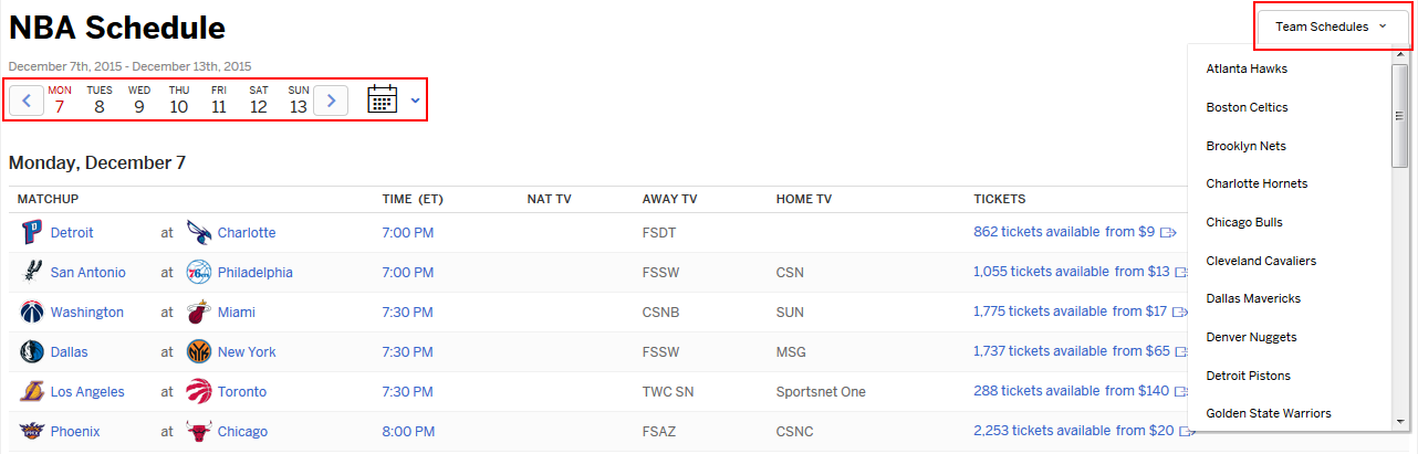 ESPN.com NBA schedule