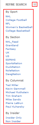 ESPN.com advanced search filters