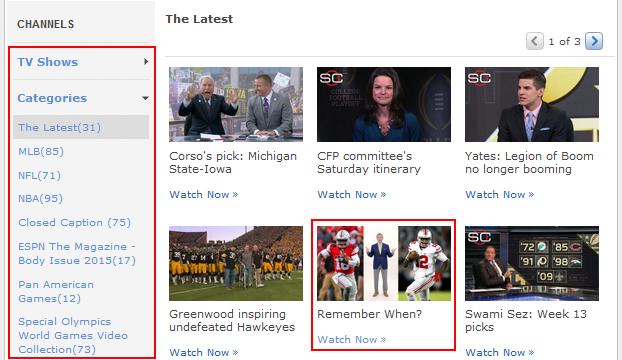 How to browse ESPN.com videos