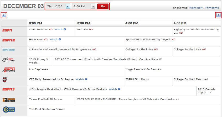 ESPN.com TV channel schedules