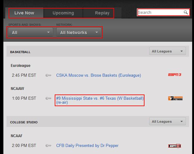 WatchESPN on ESPN.com