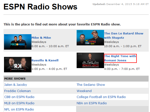 Listen to ESPN Radio original shows