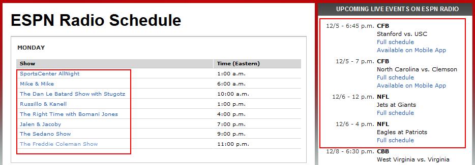 View the ESPN Radio schedule