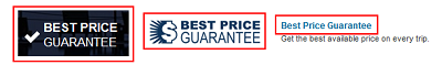 Expedia Best Price Guarantee buttons