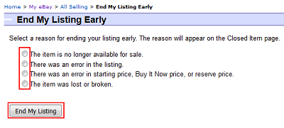 End My Listing button