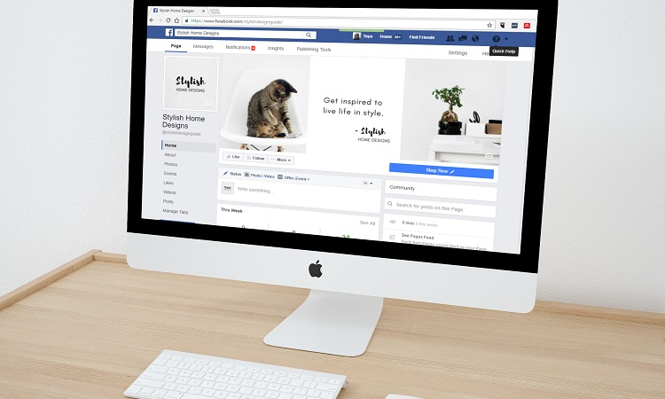 Facebook on a Mac computer