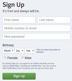 Facebook sign up form