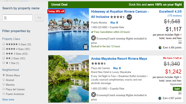 Filter Expedia.com search results