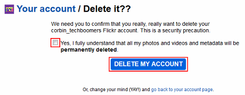 Confirm deletion of Flickr account