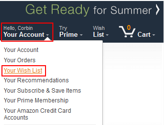 Access Amazon Wish List