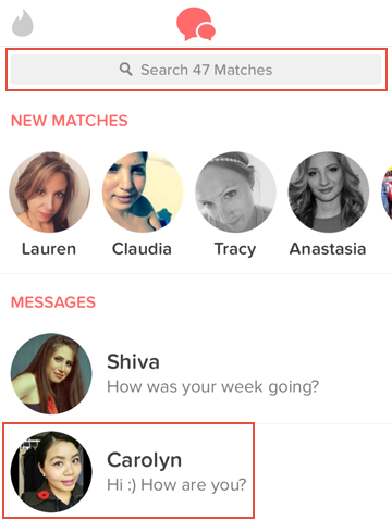 How to find and select a Tinder match to send a message to